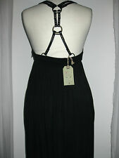 ALL SAINTS ENYO BLACK Drape JERSEY LEATHER HARNESS STRAPS Empire Maxi DRESS 8 VG