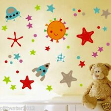 Colorful Stars & Space Rocket Removable Wall Sticker Kids Boy Bedroom Window