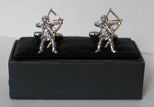 Longbow Archer with Golden Bow and Arrow Cufflinks Archery Cuff Links 19979