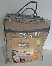 BIDDEFORD - HEATED BLANKET - QUEEN - BROWN - MICRO PLUSH - NEW