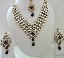 Indian Bollywood Traditional Blue Kundan Pearls Wedding Fashion Jewellery Set