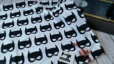 1 METRE bat mask black on white 4 way stretch knit fabric 95/5 cotton lycra