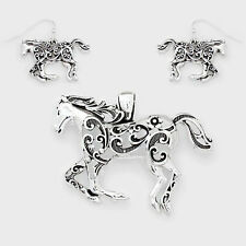 Horse Pendant Earrings SET Metal Country Farm Filigree Swirls SILVER Jewelry
