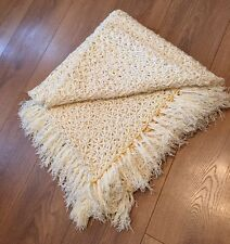 Lovely Handmade French Vintage Flower Throw Blanket Bed Cover