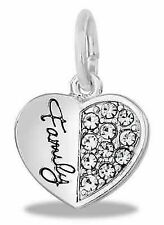 SILVER FAMILY DANGLE EUROPEAN STYLE HEART BRACELET CHARM Pandora Mother's Day