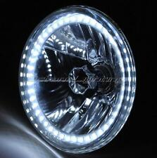 """7"""" Halogen Crystal Clear White SMD LED Halo H4 Light Bulb Motorcycle Headlight"""