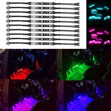 10pc Motorcycle LED Under Glow Light Kit Multi-Color Neon Strip Lamp System Kit