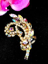 DAZZLING JULIANA D&E GOLD CRYSTAL AURORA BOREALIS RHINESTONE CURVED RINGS BROOCH