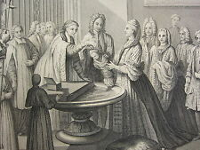 1860 PRINT ~ BAPTISM ACCORDING TO THE CHURCH OF ROME VESTMENTS 18th CENTURY