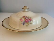 Antique Thomas Ivory China Flowers With Heavy 22K Gold Trim Butter Dish Germany