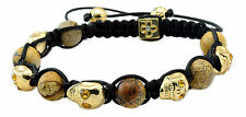 Men's Womens Crystal Agate Beaded Shamballa Gold Skull Bracelet