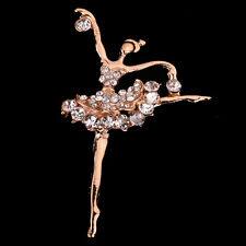 Graceful Jewelry Gold Tone Rhinestone crystal Ballet dancing girl pin Brooch