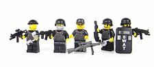 SWAT Team Police Officers minifigures with Riot Shield made with real LEGO®