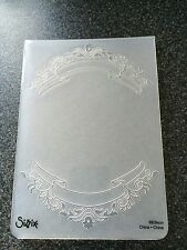 SIZZIX LARGE A6 TEXTURED EMBOSSING FOLDER BANNERS AND BLOOMS FRAME FREE P&P