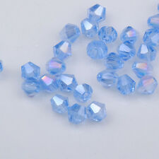 100pcs light blue ab exquisite Glass Crystal 4mm #5301 Bicone Beads  @1