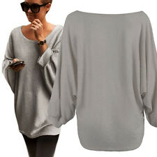 Women Oversized Batwing Knitted Pullover Loose Sweater XL