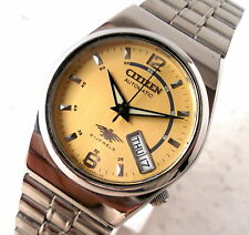 CITIZEN 7 AUTOMATIC WIND DAY DATE GOLDEN DIAL SMALL SIZE 32MM CASUAL MENS WATCH