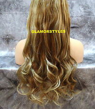 "20"" BROWN FLIP IN SECRET CLEAR WIRE HAIR PIECE EXTENSIONS NO CLIP IN/ON #8-613"