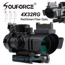 4x32 Coating Green Rifle Scope G/R Fiber Optic Sight Sniper Prismatic Tactical