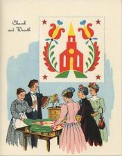 VINTAGE CHURCH WOMEN WREATH PASTOR BIBLE VICTORIAN DRESS QUILT CARD ART PRINT