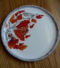 Global Design Connections Kate Williams Serving Plate ~ Fall Leaves Acorns Bird