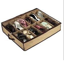 12Pairs Shoes Organizer Holder Fabric Bag Under Bed/Closet Intake Storage Box