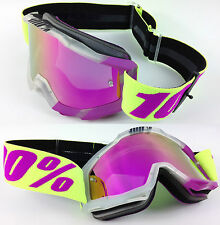 100% PERCENT ACCURI MX MOTOCROSS GOGGLE GREY with PINK MIRROR GS LENS MTB
