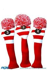 1 3 X Classic RED WHITE KNIT POM golf club Headcover throwback Head covers Set