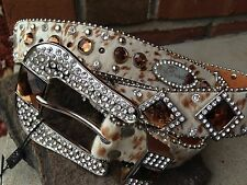 ~brown Tan  & White Belt Leather Cowgirl Western Rodeo Show Belt Rhinestones
