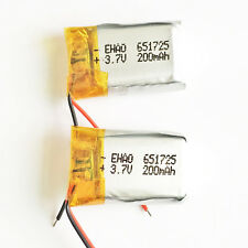 2 pcs 200mAh 3.7V Lipo Polymer rechargeable Battery For Mp3 bluetooth gps 651725
