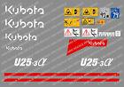 KUBOTA U25-3 MINI BAGGER KOMPLETTE AUFKLEBER SATZ MIT SICHERHEIT-WARNZEICHEN