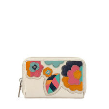 FOSSIL HUNTER FLOWER APPLIQUE MULTIFUNCTION PURSE ZIP CLUTCH BAG NEW