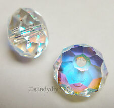 4x SWAROVSKI 5040 CLEAR AB  BRIOLETTE BEAD CRYSTAL 8mm