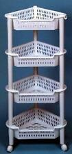 Jumbo Corner 4 Tier Kitchen Pantry Rack  White On Wheels