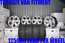 "18"" ALLOY WHEELS & TYRES FORD TRANSIT MK6 MK7 MK8 LOAD RATED 1250KG SILVER 5x160"
