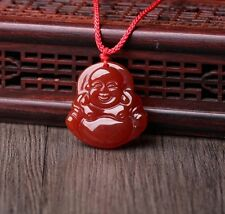 Chinese Hand-carved Natural Icy Red Agate Jade Pendant Necklace Happy Buddha God