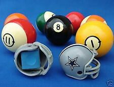 2 DALLAS COWBOYS POOL BILLIARD CUE with MASTER CHALK NFL FOOTBALL HELMET HOLDERS