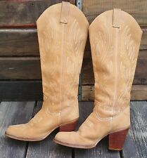 ZODIAC Cowgirl Knee High Heeled Tan Leather Cowboy Boots Women's 6M #814157