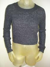 NWT Boy Meets Girl BLACK/SILVER Metallic CROPPED Cable Knit Sweater Juniors XL