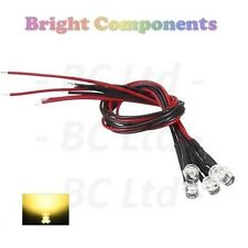 10 x Pre-Wired Warm White LED 5mm Flat Top : 9V ~ 12V : 1st CLASS POST
