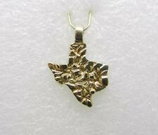 14K YELLOW GOLD VINTAGE NUGGET STATE OF TEXAS PENDANT - RARE  -  LB2601