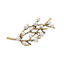 Hot Fashion Vintage Gold Pearls Branch Pin Brooch