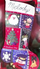 A Musical Quilt Felt Christmas Stocking Kit Bucilla 84591 Embroidery A Beauty