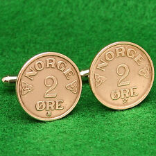 "Norwegian Vintage 1950s Coin Cufflinks, Bronze ""Norge 2 Ore"" Norway Scandinavian"