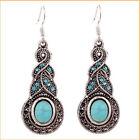 Sales Vintage Retro Women Lady Girl Turquoise Crystal Rhinestone Hook Earrings