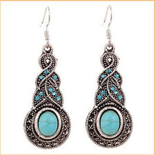Vintage Retro Women Lady Silver Tone Turquoise Crystal Rhinestone Hook Earrings