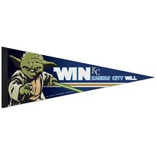 "KANSAS CITY ROYALS STAR WARS YODA ROLL UP PREMIUM FELT PENNANT 12""x30"" WINCRAFT"