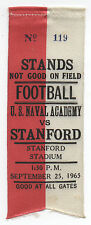 1965 College Football Ribbon Stanford University vs U.S. Naval Academy
