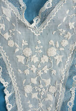 Antique fine early 19th c embroidered muslin lace edged dress front