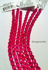 BEADS CZECH FACETED CRYSTALS 25 x 6mm Fuchsia